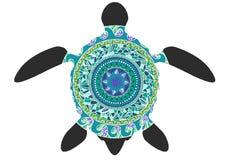 Tortuga gráfica decorativa, estilo del tatuaje, animal tribal del tótem, modelo ornamental, ejemplo del vector stock de ilustración