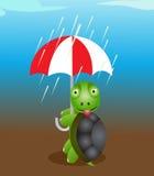 Tortuga linda con el paraguas Fotos de archivo libres de regalías