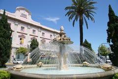 Tortuga oder Schildkröten-Brunnen, Avenida Ramon de Carranza, Cadiz, SP Lizenzfreies Stockfoto