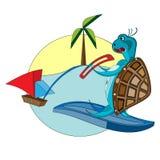 Tortuga que practica surf Imagen de archivo libre de regalías