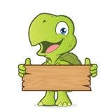 Tortuga que sostiene un tablón de la madera stock de ilustración