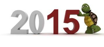 Tortuga que trae en el Año Nuevo Imagen de archivo libre de regalías