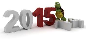 Tortuga que trae en el Año Nuevo Fotos de archivo