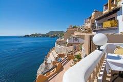 Tortuga restaurant. CALA FORNELLS, MALLORCA, SPAIN - SEPTEMBER 6, 2016: Tortuga restaurant sea view on a sunny day on September 6, 2016 in Cala Fornells Royalty Free Stock Image