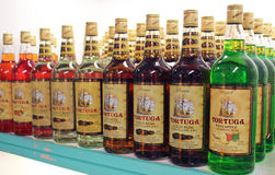 Tortuga Rum Display. Display case of the Caribbean popular brand of Rum, Tortuga at the Tortuga store on the tourist area of downtown Nassau, Bahamas.  Tortuga Stock Photography