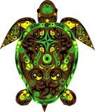 Tortuga un animal, una tortuga de mar, un animal con el dibujo, Fotos de archivo