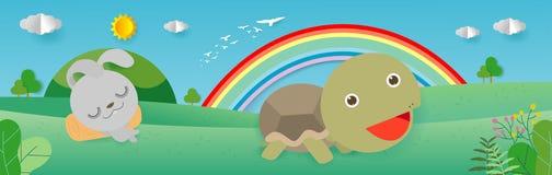 Tortuga y las liebres, la tortuga y el conejo compitiendo con junto para ganar, estilo plano aislados en fondo Arte de papel stock de ilustración