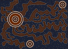 Tortuous path. A illustration based on aboriginal style of dot painting depicting tortuous path stock illustration