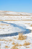 Tortuous river in winter Stock Photo