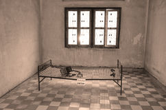 Torture bed in the Khmer Rouge high school S-21. PHNOM PHEN CAMBODIA 03 25 13: Torture bed in the Khmer Rouge high school S-21 turned into a torture and Royalty Free Stock Images