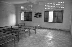 Torture bed in the Khmer Rouge high school S-21. PHNOM PHEN CAMBODIA 03 25 13: Torture bed in the Khmer Rouge high school S-21 turned into a torture and Stock Images