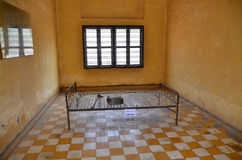 Torture bed. PHNOM PENH, CAMBODIA MARCH 24:Torture bed in the Khmer Rouge high school S-21 turned into a torture and execution center on March 24, 2012 in Phnom Royalty Free Stock Image