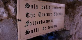 The torture chamber entry sign royalty free stock photos