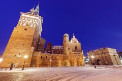Torture chamber and Prison in Gdansk at night Royalty Free Stock Photos
