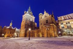 Torture chamber and Prison in Gdansk at night Stock Images