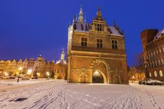 Torture chamber and Prison in Gdansk at night Stock Image