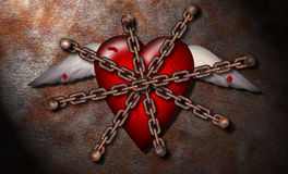 Tortured Heart. A chained and wounded heart Royalty Free Stock Photo