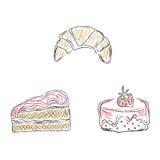 Torty, desery, nakreślenie, doodle, wektor, ilustracja Fotografia Royalty Free