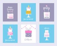 Torty i jednorożec Urodzinowe karty, prysznic zaproszenia royalty ilustracja
