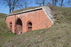 Toruń, kujawskopomorskie / Poland - March, 20, 2019: Old fort made of brick bricks. Museum in Toruń fort IV stock image