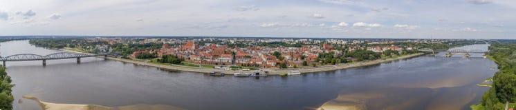 Toruń, panorama, river, air stock image