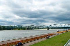 Toruński sławny kratownicowy most, Polska Zdjęcia Stock