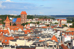 Torun. Poland - Torun, city divided by Vistula river between Pomerania and Kuyavia regions. Old town skyline - aerial view from town hall tower. The medieval old Stock Photo
