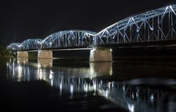 Torun bridge. Highlighted Torun bridge at night time, Poland Royalty Free Stock Image