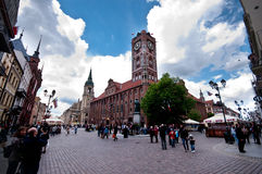 Torun centre, Poland. Poland, city of Torun. The main square with Copernicus monument (Torun being his home town Stock Photo