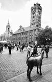 Torun centre, Poland. Poland, city of Torun. The main square with Copernicus monument (Torun being his home town). In the foreground - the golden donkey Stock Photos
