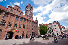 Torun centre, Poland. Poland, city of Torun. The main square with Copernicus monument (Torun being his home town). Rynek Staromiejski (Old Twon Square and Twon Royalty Free Stock Photo
