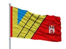 Torun City Flag On Flagpole, Polonia, isolata su fondo bianco illustrazione di stock