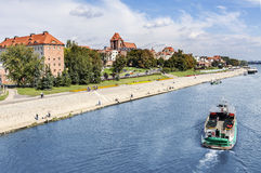 Torun city located on the Vistula river bank, Poland. Royalty Free Stock Image
