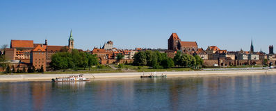 Torun old city. Torun's Old Town from the left side of the Vistula River Royalty Free Stock Image