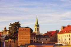 Torun Old Town del puente en la puesta del sol Imágenes de archivo libres de regalías