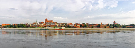 Torun old town reflected in Vistula river, Poland Royalty Free Stock Photo