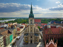 Torun panorama. Academic Church of the Holy Spirit in Torun, Poland. It was built in the mid-eighteenth century Royalty Free Stock Image