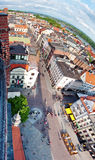 Torun panorama, Poland. Aerial panorama of old town of Torun city, Poland. Taken from historic tower of the Town Hall Stock Photo