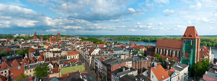 Torun panorama, Poland. Aerial panorama of old town of Torun city, Poland. Taken from historic tower of the Town Hall. The Vistula River seen in the background Royalty Free Stock Photo