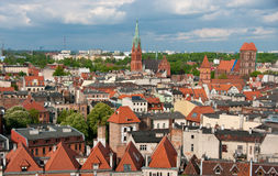 Torun panorama, Poland. Aerial panorama of old town of Torun city, Poland. Taken from historic tower of the Town Hall Stock Photos