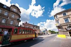 Torun, Poland. Old town centre on Torun, Poland. Tram going along a street Royalty Free Stock Photos