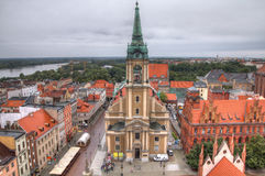 Torun, Poland. Poland - Torun. Old town skyline - aerial view from town hall tower. The medieval old town is a UNESCO World Heritage Site. HDR photo Royalty Free Stock Photos