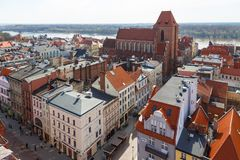 Old town skyline - aerial view from town hall tower, Torun, Poland. Torun, Poland- 05 April, 2014: Old town skyline - aerial view from town hall tower. The Royalty Free Stock Photo