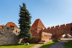 Street in old town with tower of Teutonic knights castle, Torun, Poland stock images