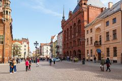 Streets of old town in Torun, Poland. Torun, Poland - 05 April, 2014: Streets of old town in Torun. The medieval old town is a UNESCO World Heritage Site Stock Photography