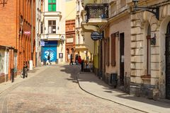 Streets of old town in Torun, Poland. Torun, Poland - 05 April, 2014: Streets of old town in Torun. The medieval old town is a UNESCO World Heritage Site Royalty Free Stock Images