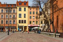 Streets of old town in Torun, Poland. Torun, Poland - 05 April, 2014: Streets of old town in Torun. The medieval old town is a UNESCO World Heritage Site Stock Image