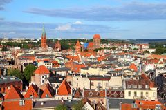 Torun, Poland. Poland - Torun, city divided by Vistula river between Pomerania and Kuyavia regions. Old town skyline - aerial view from town hall tower. The Stock Photography