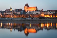 TORUN, POLAND - gothic Torun Cathedral and the panorama of the Old Town district stock images