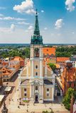 Aerial view of historical buildings and roofs in Polish medieval town Torun, Poland. Torun is the p. Torun, Poland - June 01, 2018: Aerial view of historical Stock Photography